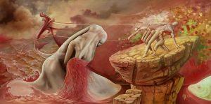 A fisherman's dream- Surreal art painting, surrealism, surreal illusion,